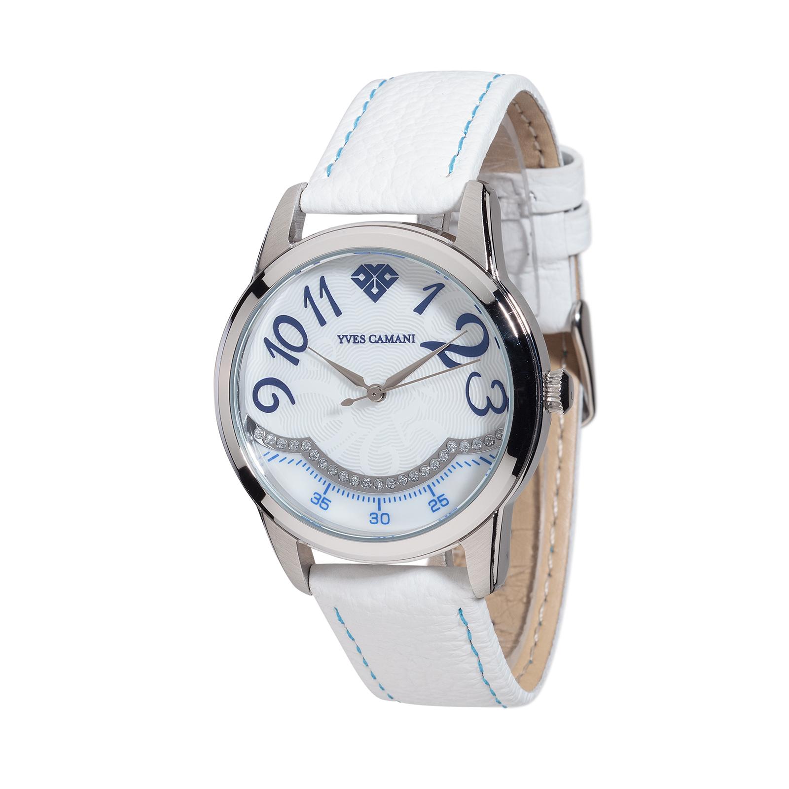 2146da2f8c Yves Camani Champaubert Montre Femme Acier Blanche Bleu Cristaux De ...