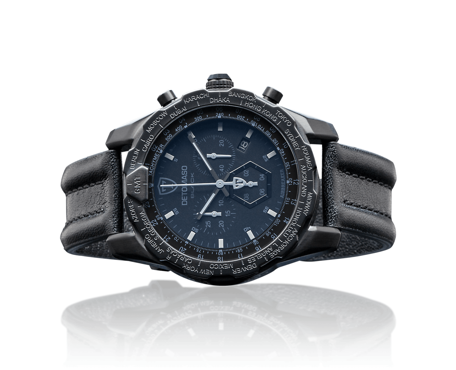 detomaso airbreaker black herrenuhr edelstahl chronograph. Black Bedroom Furniture Sets. Home Design Ideas