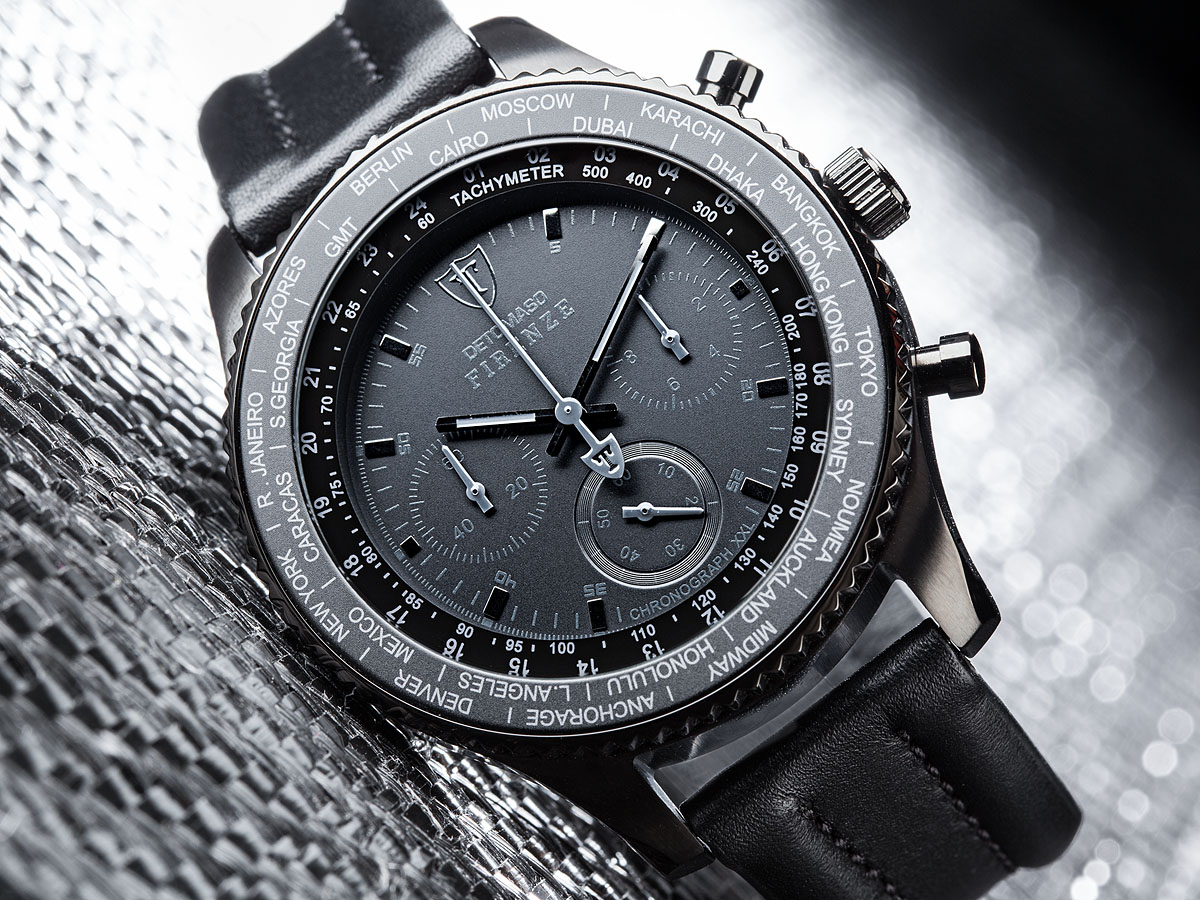 detomaso firenze black xxl chronograph mens wrist watch. Black Bedroom Furniture Sets. Home Design Ideas