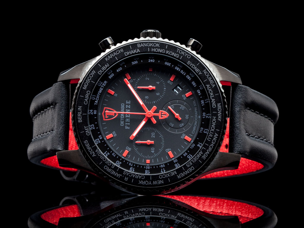 detomaso firenze black red xxl herrenuhr chronograph. Black Bedroom Furniture Sets. Home Design Ideas