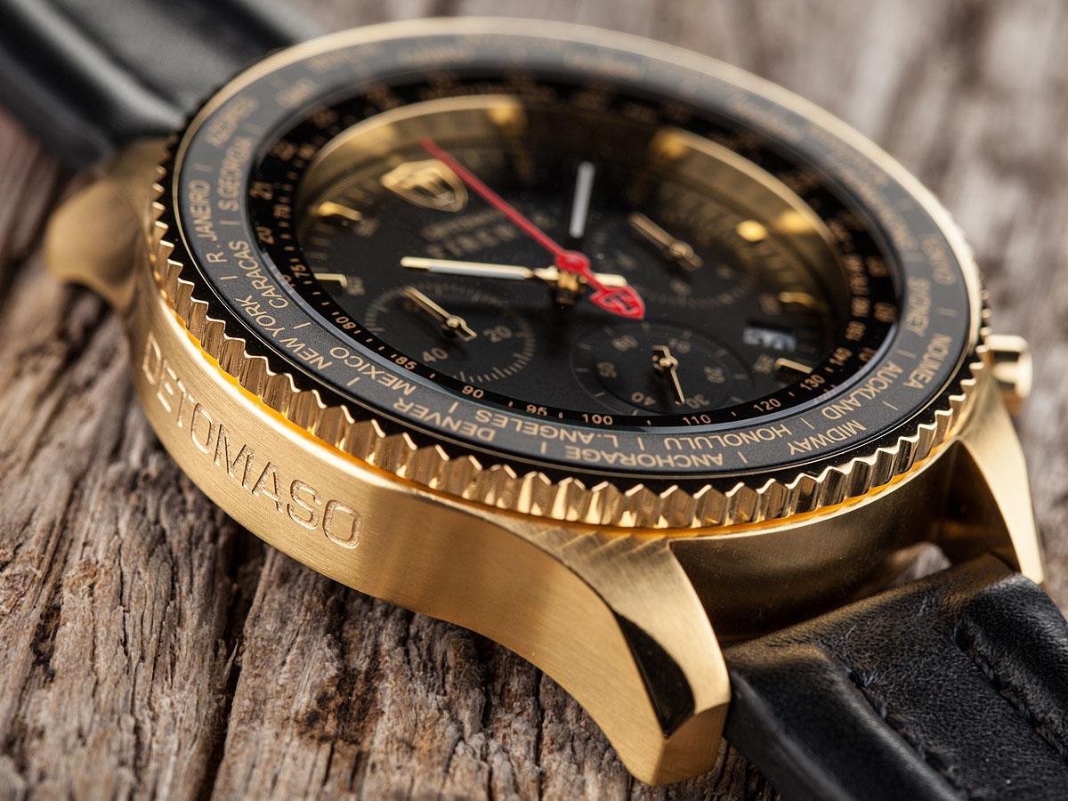 DETOMASO FIRENZE XXL Mens Watch Chronograph Gold Plated ...