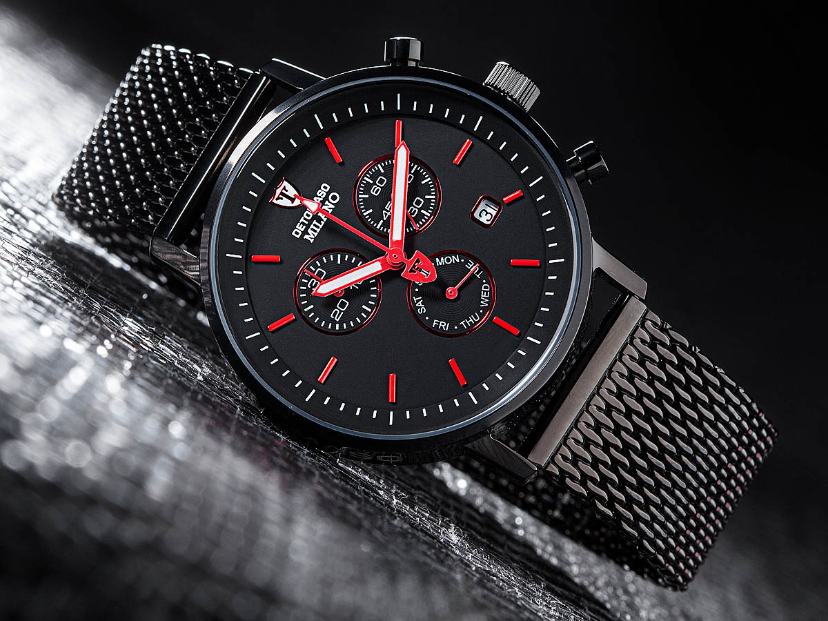 detomaso milano mens wrist watch milanaise chronograph. Black Bedroom Furniture Sets. Home Design Ideas