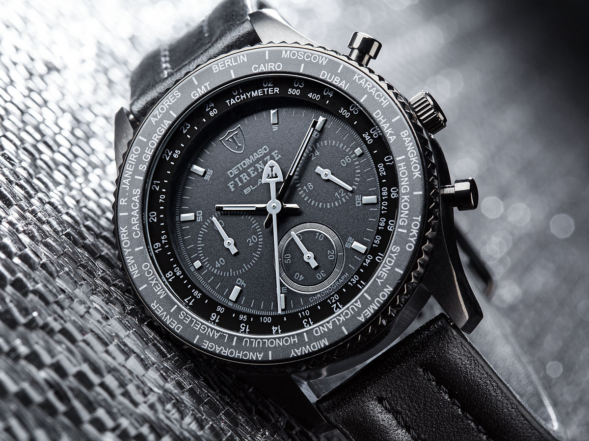 detomaso firenze black chronograph mens sports watch. Black Bedroom Furniture Sets. Home Design Ideas
