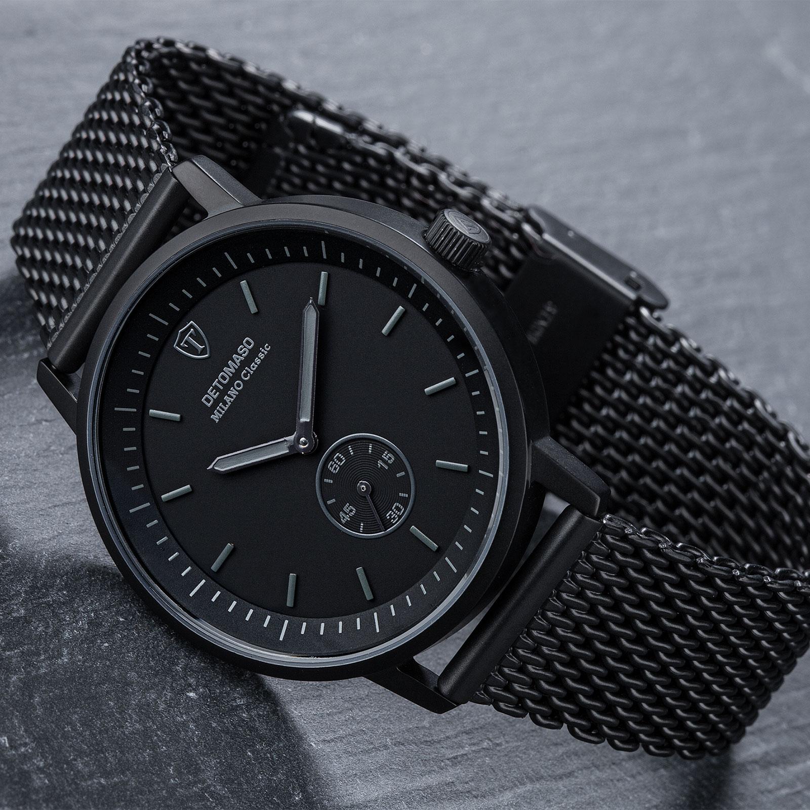 detomaso milano classic montre homme noir bracelet acier. Black Bedroom Furniture Sets. Home Design Ideas