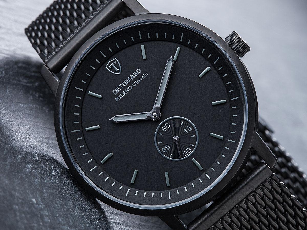 detomaso milano classic montre homme noir bracelet acier maille milanaise neuve ebay. Black Bedroom Furniture Sets. Home Design Ideas