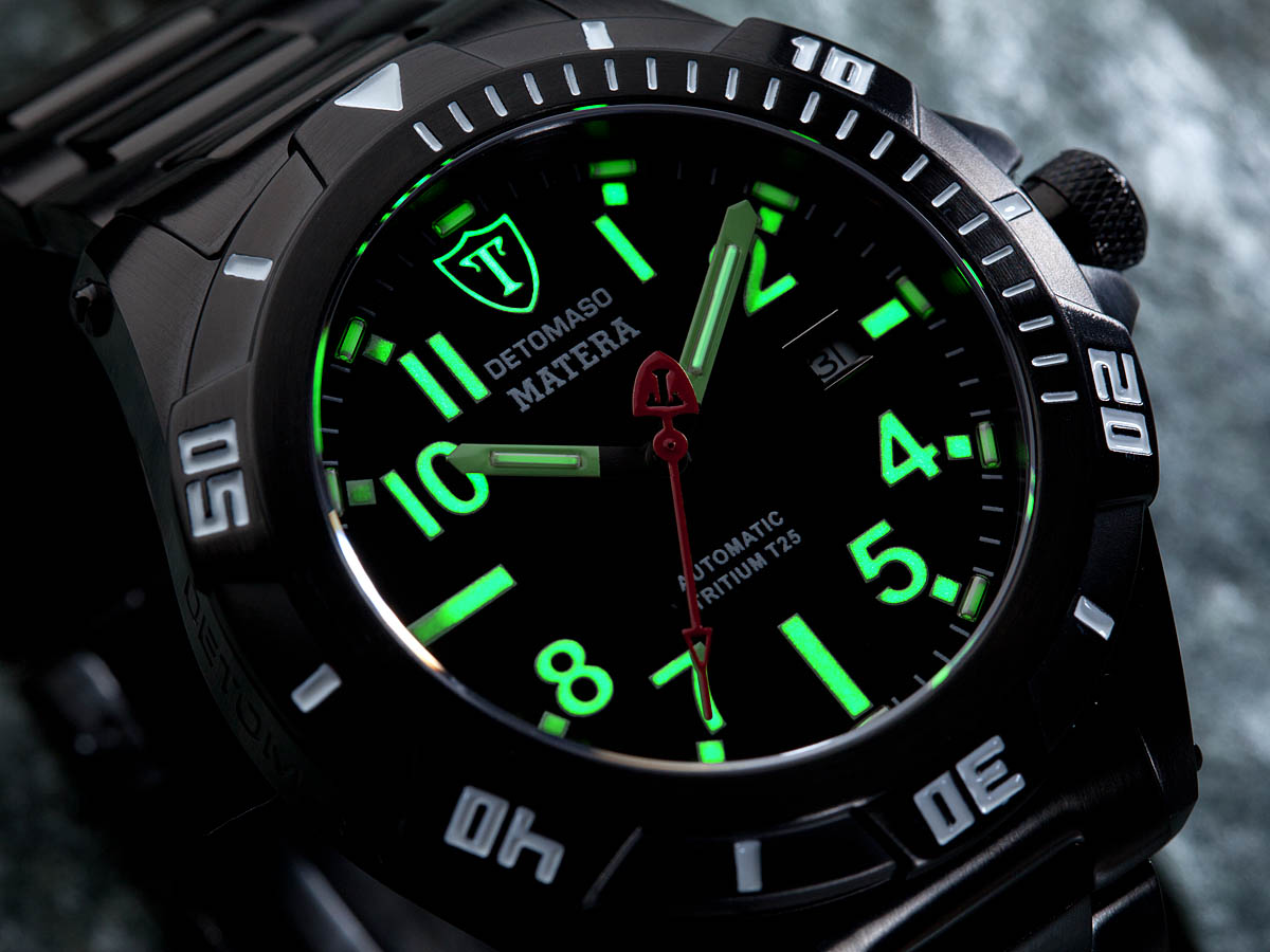 Detomaso matera mens diving watch tritium automatic black stainless steel new ebay for Tritium dive watches