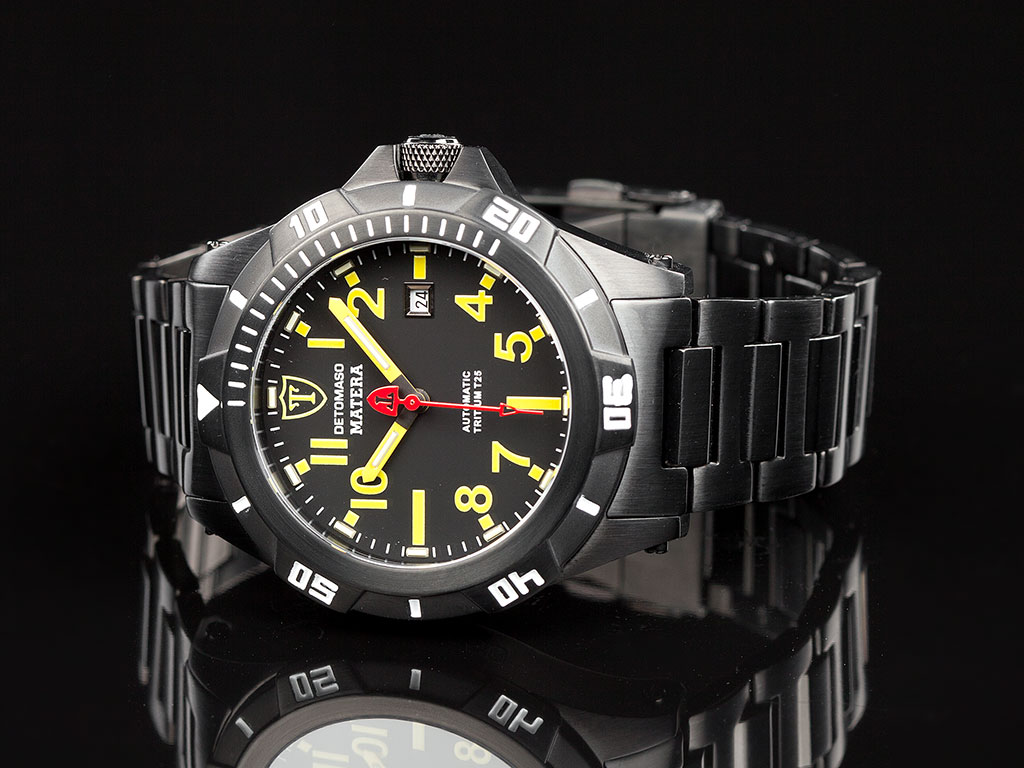 Detomaso matera mens diving watch automatic tritium black stainless steel new for Tritium dive watches