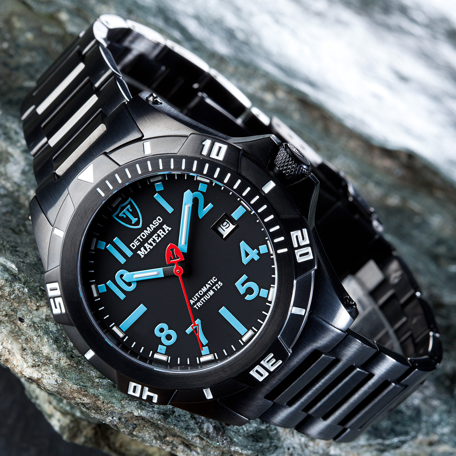 detomaso matera mens diving watch automatic black stainless steel tritium new ebay