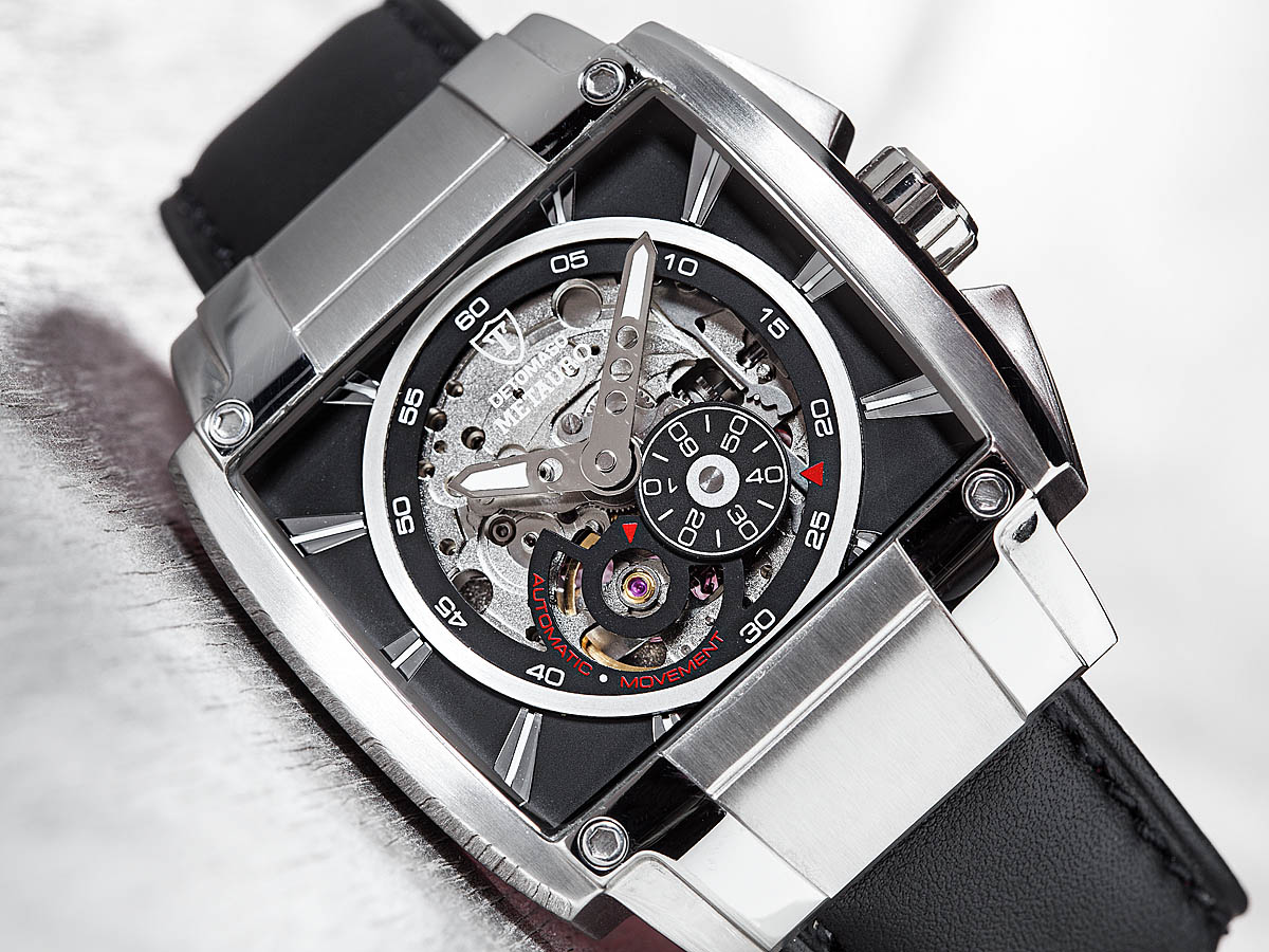 Detomaso metauro mens automatic watch skeleton miyota movement silver new ebay for Auto movement watches