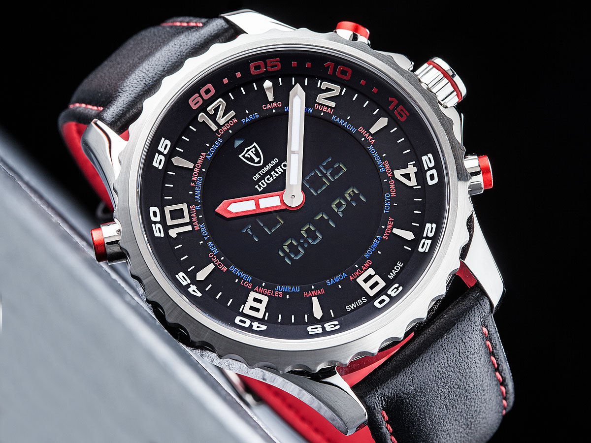 detomaso lugano mens swiss made digital analog