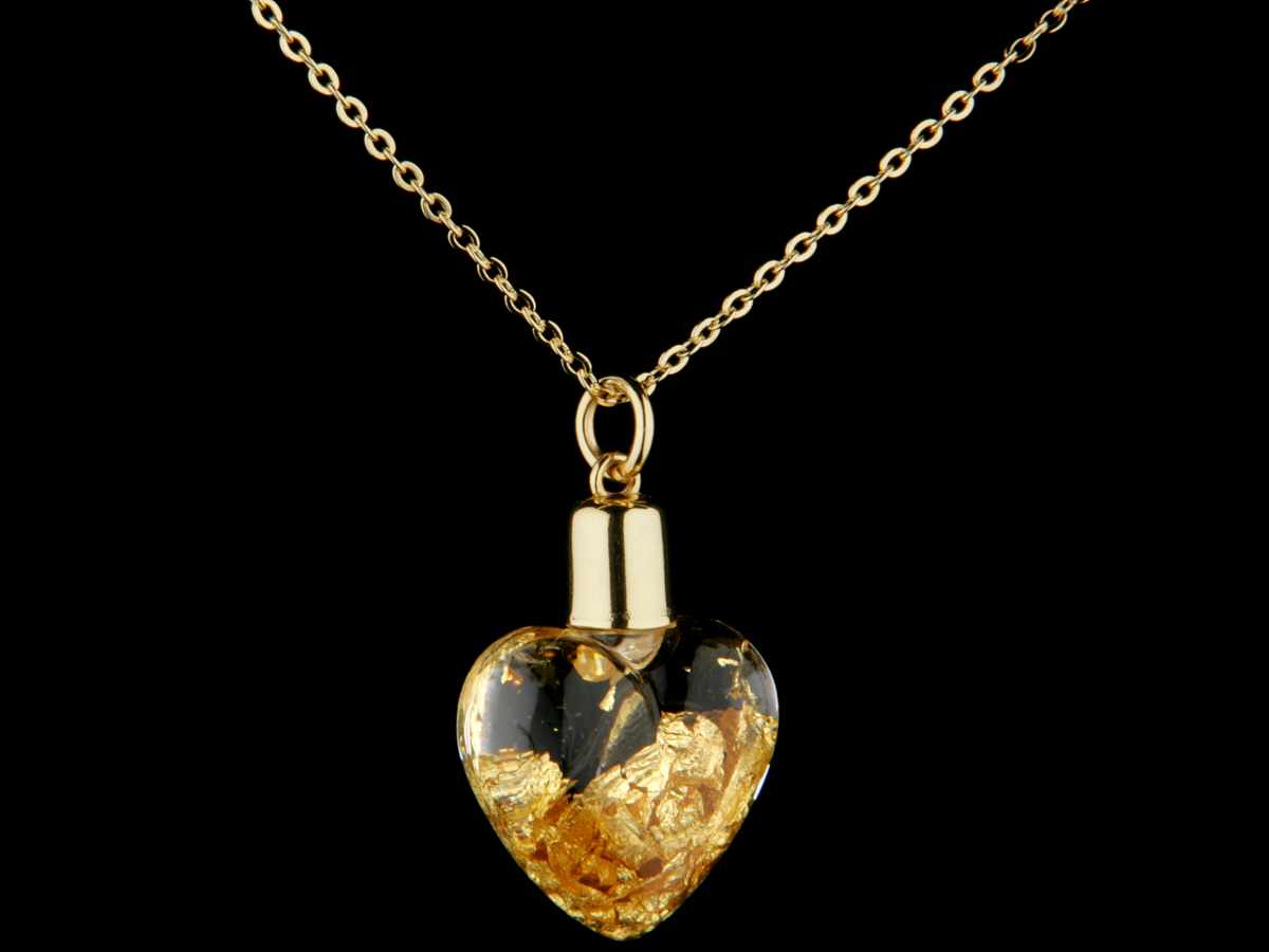 yves camani glass pendant 999 9 gold filling