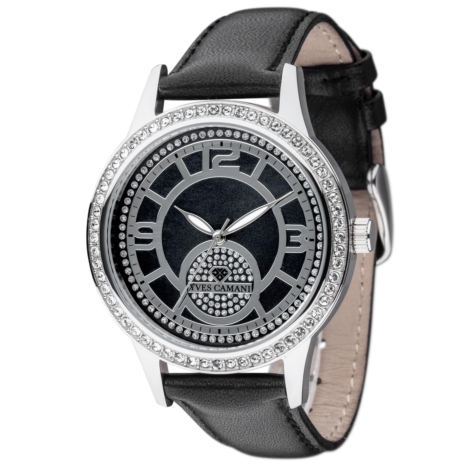 0c834773c6 Détails sur YVES CAMANI Rouen Femme Montre en acier inoxydable argent  Bracelet en Cuir Noir Neuf- afficher le titre d'origine