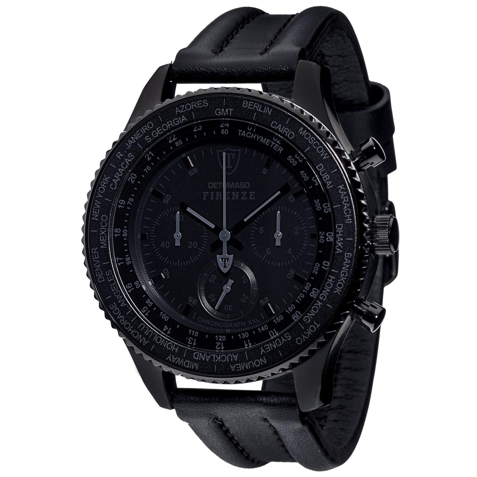 detomaso firenze black xxl chronograph herrenuhr schwarz