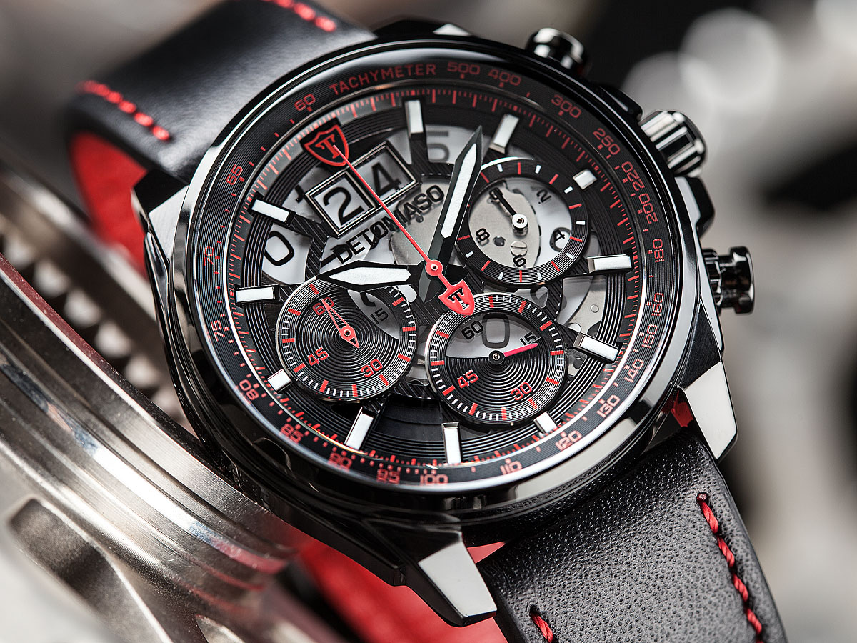 detomaso livello herrenuhr chronograph rot schwarz. Black Bedroom Furniture Sets. Home Design Ideas