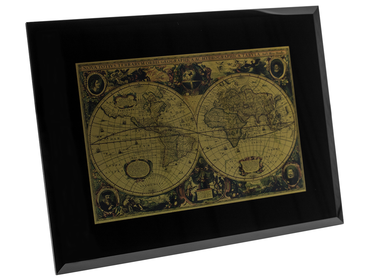 Historische Weltkarte im Glasrahmen mit 999,9 Gold Neuu   eBay